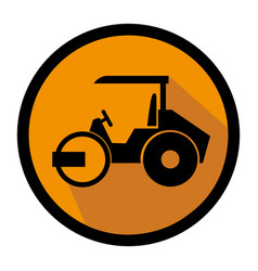 color circular emblem with road roller vector image