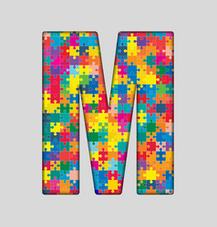 Color puzzle piece jigsaw letter - m vector