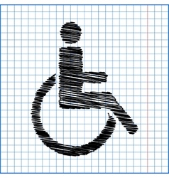 Disabled icon with pen effect on paper vector