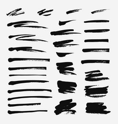 Hand drawn set of brushstroke vector