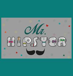 mr hipster vintage font vector image vector image