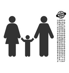 Parents and child icon with people bonus vector