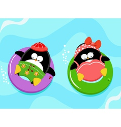 Penguins Enjoying Water vector image vector image