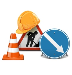 Road signs with helmet and cone vector