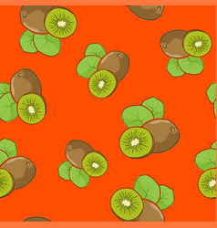 Seamless pattern kiwifruit on orange background vector
