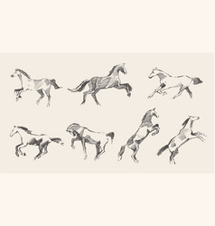 Set hand drawn horses sketch vector