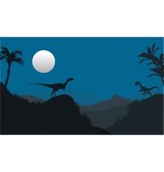 Silhouette of megapnosaurus in hills vector