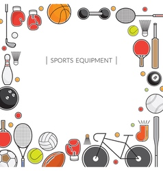 Sports equipment line icons frame vector