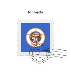 State of minnesota flag postage stamp vector