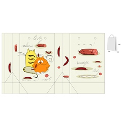 template for bag with two cats vector image