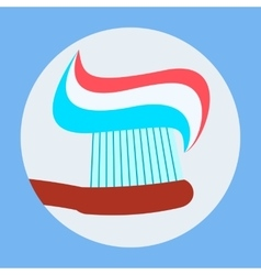 Toothbrush with Toothpaste Icon Flat Design vector image vector image