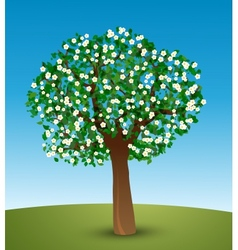 Tree with green leaves and white flowers vector image vector image