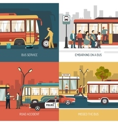 Bus stop 4 flat icons square vector
