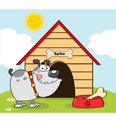 Gray Bulldog With Bowl And Bone vector image