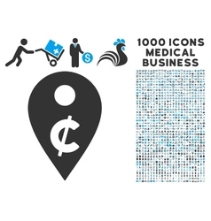 Cent map marker icon with 1000 medical business vector