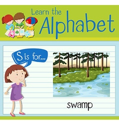 Flashcard letter s is for swamp vector