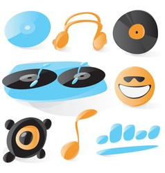 Smooth dj icons vector