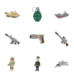 Army weapons icons set cartoon style vector
