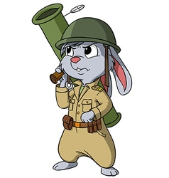 Cartoon bunny with bazooka on the white vector image