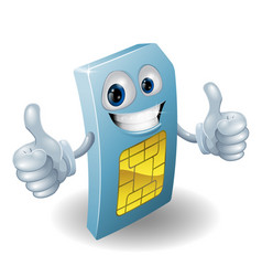 Thumbs up phone sim card person vector