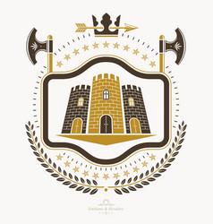 Luxury heraldic emblem template blazon vector