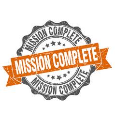 Mission complete stamp sign seal vector