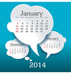 January 2014 bubble speech calendar vector
