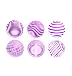 striped violet ball logo vector image