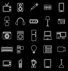 Electrical machine line icons on black background vector
