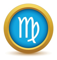 Gold virgo icon vector