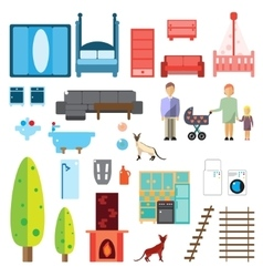 Isolated furniture icons vector