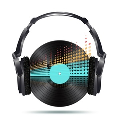 Vinyl with headphones vector