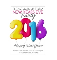 Invitation to new year party with color balloons vector