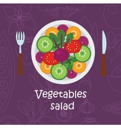 Fresh vegetables salad with olive oil on violet vector