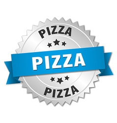 Pizza 3d silver badge with blue ribbon vector