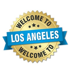 Los angeles 3d gold badge with blue ribbon vector