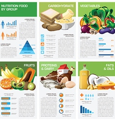 Health and nutrition food by group infographic vector