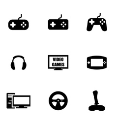 Black video games icon set vector