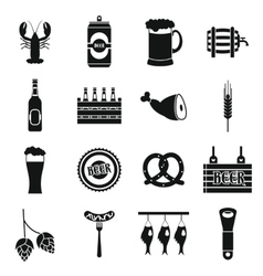 Beer icons set simple style vector