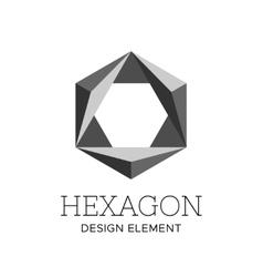 Flat gray polygonal hexagon logo template vector