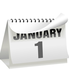 a new years day calendar turns a page to change th vector image vector image
