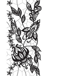 abstract lace with elements of flowers and leaves vector image