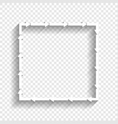 Arrow on a square shape white icon with vector