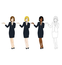 Business woman with microphone presentation vector