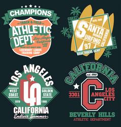 california t-shirt graphics set sport wear vector image vector image