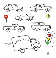 Cars sketches vector image vector image