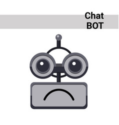 Cartoon robot face smiling cute emotion sad chat vector