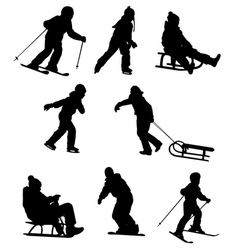 children enjoying winter sports vector image