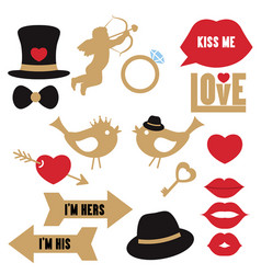 collection of wedding objects collection vector image