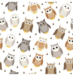 Cute cartoon owl seamless texture Owl pattern vector image